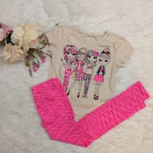 Other - 2 Piece Graphic Tee & Hot Pink Leggings